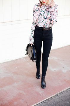 New Darlings Spring-like Florals, Black Skinny Jeans and Boots Style Me, Cool Style, Fall Outfits, Cute Outfits, New Darlings, Going Out Outfits, Winter Looks, Dress To Impress, What To Wear