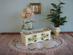 Vintage 50s Wooden Toy Box or Blanket Chest w/ Hand by TheToyBox