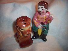 Vintage Salt & Pepper shakers Circus LION & RINGMASTER Trainer Figural