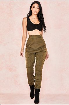 66535dca74a Inaya Khaki Sheen Twill Utility Trousers Festival Shop