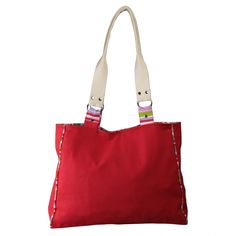 With five color stripes, a zippered pocket inside, matching linings, magnetic closures, and handles supported by nickel-free rings, this bag is a must-own.