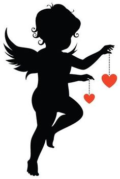Silhouette of an angel with hearts Engel Silhouette, Silhouette Painting, Silhouette Projects, Silhouette Design, Valentine Cupid, Valentines Art, Mural Art, Wall Murals, Black And White Art Drawing