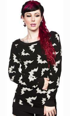 Sourpuss Go Batty Bats Sweater Gothic Vamp Punk Metal Psychobilly s M L XL 2X | eBay