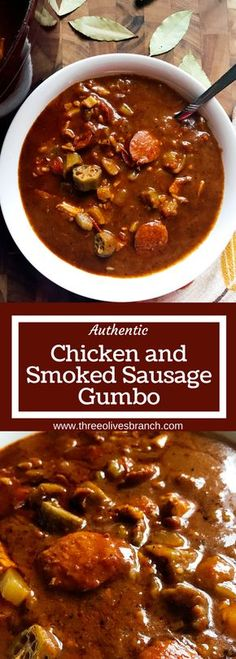Straight from NOLA, this Authentic Chicken and Smoked Sausage Gumbo is a cold weather staple in our house. Smoky flavors will make this a favorite when you are craving soup or stew. Whether you make it spicy or mild, it is great for game day! | Three Olives Branch | www.threeolivesbranch.com