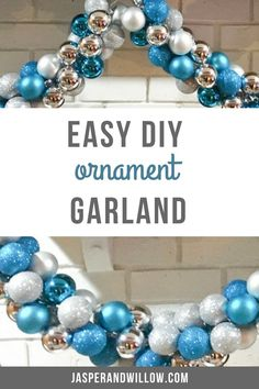 Ornament garland - DIY your own ornament garland for Christmas. Be sure to read this easy DIY Christmas decor project, that includes a full tutorial on how to make your own Christmas ornament garland for your fireplace mantels. Diy Christmas Decorations For Home, Easy Christmas Ornaments, Christmas Mantels, Simple Christmas, Christmas Diy, Ornaments For The Home, Christmas Projects, Diy Christmas Fireplace, Holiday Decor