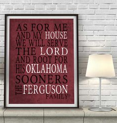 "Oklahoma Sooners Customized Art Print- ""As for Me"" Parody- Unframed Print"