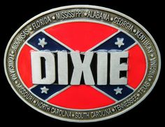 DIXIE REBEL CONFEDERATE PRIDE FLAG SOUTHERN STATES BELT BUCKLE BELTS BUCKLES