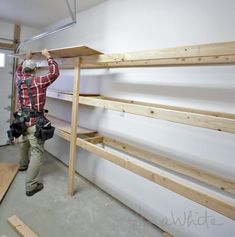 DIY Projects Easy and Fast DIY Garage or Basement Shelving for Tote Storage Woodworking Plans by Ana White Garage Organization Tips, Garage Storage Shelves, Garage Shelf, Tote Storage, Attic Storage, Diy Garage, Storage Ideas, Garage Cabinets Diy, Barn Storage