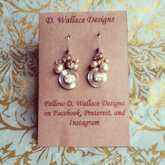 dwallacedesigns; vintage mother of pearl button with antique crystal and decorated with vintage and fresh water pearl earrings. $26 on Etsy