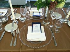 www.canardscatering.com  Formal placesetting with menu in the napkin