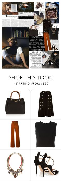 """The real lover is the man who can thrill you just by touching your head or smiling into your eyes - or just by staring into space. by Marilyn Monroe"" by valentina-back ❤ liked on Polyvore featuring Gucci, Dolce&Gabbana, Sonia Rykiel, Alice + Olivia, DANNIJO, Gianvito Rossi and Melissa Joy Manning"