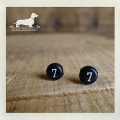 Lucky Number Post Earrings  VintageStyle Black by PickleDogDesign, $5.50