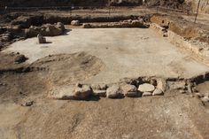 Israeli archaeologists discovered a mosaic-filled church while probing the site of a future park in the village Aluma. This image shows the atrium, or courtyard, of the church, covered in white tiles.