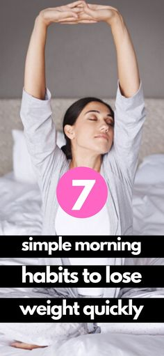7 morning habits that will making losing weight easier and quicker. Weight Loss Help, Weight Loss Challenge, Weight Loss Goals, Weight Loss Transformation, Weight Loss Motivation, Weight Loss Journey, How To Lose Weight Fast, Losing Weight, Quick Morning Workout