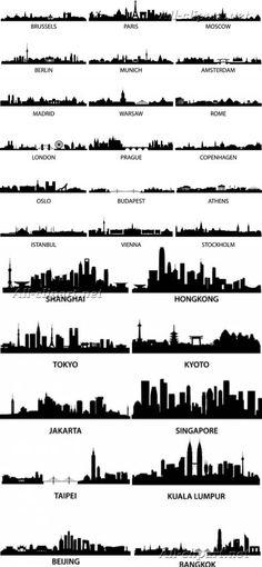 Города и столицы мира - векторные силуэты | City Vector Silhouette