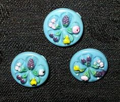 The Gatherings Antique Vintage - Vintage Collectible Molded Fruit Motif Buttons, $6.50 (http://store.the-gatherings-antique-vintage.net/vintage-collectible-molded-fruit-motif-buttons/)