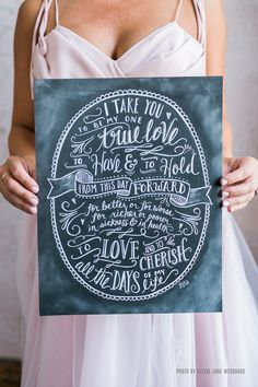 Words that were spoken on your special day are promises you cherish from that day forward. These special, illustrated vows also make a perfect wedding or anniversary gift. ♥ Our fine art chalkboard pr