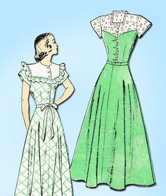 1940s Vintage New York Sewing Pattern 424 Misses Pretty Dress Size 15 33 Bust