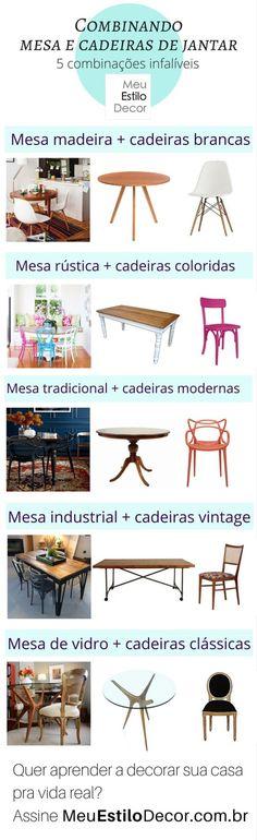 (Des) Combinando mesa e cadeiras de jantar como um designer Trendy Furniture, Simple Furniture, Furniture Logo, Furniture Decor, Furniture Design, Decoration, Art Decor, Diy Home Decor, Casa Feng Shui