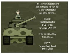 Image result for vintage army themed birthday invitation