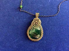 Spiritual Handmade Healing Green Agate Gemstone Antique Bronze Wire Wrapped…