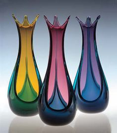 Blown Glass Bud Vases by Ed Branson at BeautifulBowls.com