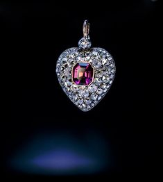 Antique 19th Century Garnet Diamond Heart Locket Pendant - Antique Jewelry | Vintage Rings | Faberge Eggs