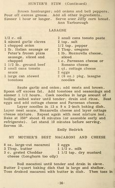 Butter 'n love recipes Retro Recipes, Old Recipes, Vintage Recipes, Cookbook Recipes, Meat Recipes, Pasta Recipes, Italian Recipes, Cooking Recipes, Lasagna