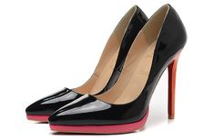 Christian Louboutin Pigalle Plato 120mm Patent Leather Platform Pointed Toe Pumps Black Red