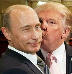 """"""" state media points out that Trump and Putin were """"among the last to leave the Élysée Palace"""" and in spite of the last-minute change in seating arrangements, they still managed to talk. Satire, Donald Trumph, Lgbt, Trump Cartoons, Humor, Photomontage, Frankenstein, Funny Pictures, American"""