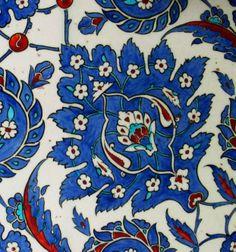 Detail of the Iznik-tile-decorated walls of Rüstem Pașa Camii in Istanbul century). Turkish Tiles, Antique Tiles, Pointillism, Tile Patterns, Tile Design, 16th Century, Islamic Art, Zentangle, Celtic