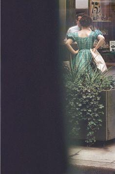 By Saul Leiter, c.1957, Green Dress. Like how includes sense of hidden & sneaky onlooker