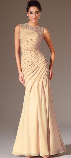 Champagne Applique Evening Dress