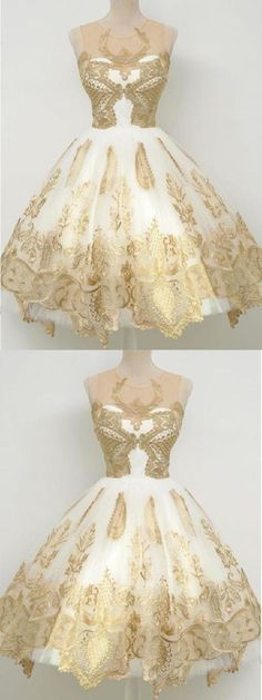 Vintage Dresses A Line Gold Lace Cocktail Dresses, Scoop Homecoming Dresses, Knee Length Vintage Short Prom Dresses,Cute Sweet 16 Dress Wite Prom Dresses, Elegant Homecoming Dresses, Dresses Short, Tight Dresses, Dance Dresses, Quinceanera Dresses, Elegant Dresses, Pretty Dresses, Beautiful Dresses