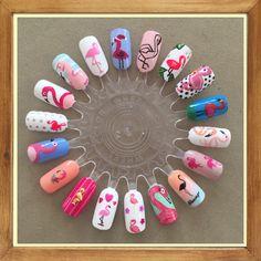 Painted this wheel for a friend who loves flamingos. New Nail Art Design, Nail Art Designs, Nail Art Wheel, Flamingo Nails, Nail Drawing, Best Nail Salon, Nail Tattoo, Disney Nails, Cute Nail Art