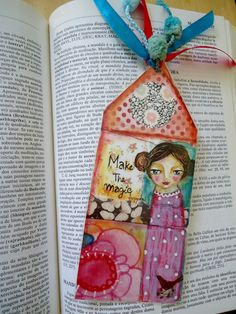 House Bookmark mixed media art collage Laminated with ribbons