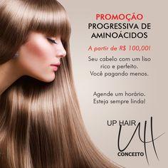 Promoção: Progressiva de Aminoácidos. Válida às terças, quartas e quintas-feiras. Entre em contato pelo telefone (37) 3236-5100.