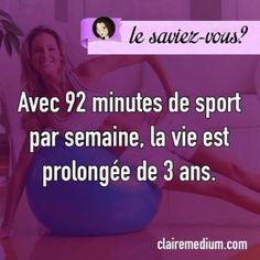 Sport-saviez-vous-clairemedium Stay Healthy Quotes, Healthy Motivation Quotes, How To Stay Healthy, Best Quotes, Funny Quotes, Life Quotes, Funny Fun Facts, Vie Positive, Motivational Quotes
