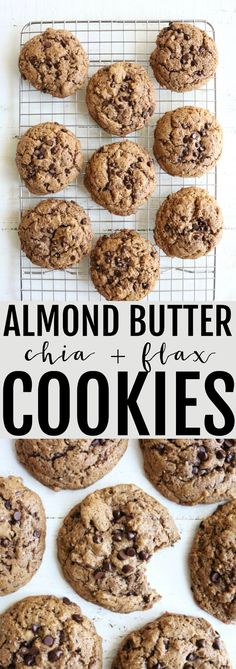 Obsessed with these healthy Almond Butter Chia Cookies! They're low glycemic, lower carb, gluten free, and SO delicious!! #lowcarb #glutenfree #thetoastedpinenut