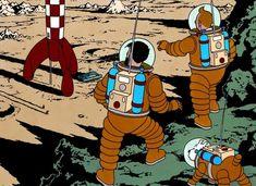 Tim, Struppi und Kapitän Haddock auf dem Mond