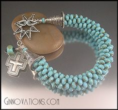 Kumihimo bracelet made with tiny turquoise faceted beads.