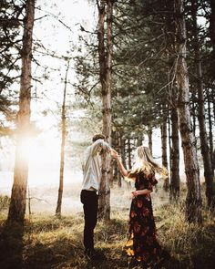 Dancing among the trees with the sun beaming through, what a happy moment