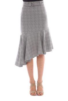 Fusta asimetrica gri deschis BRN-21801178 -  Ama Fashion