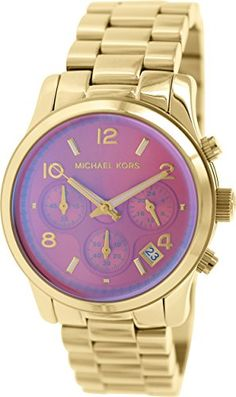 2362f3ac31df Amazon.com  Michael Kors Runway Pink Dial SS Chronograph Quartz Ladies Watch  MK5939  Michael Kors  Watches