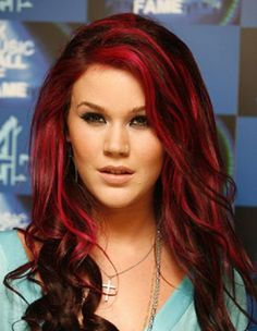 Dark Brown Hair with Red Highlights Maybe not so much red on top but love the colors