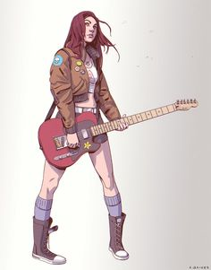 red telecaster by adam baines Spectrum The Best in Contemporary Fantastic Art Female Character Design, Character Design Inspiration, Character Concept, Character Art, Character Ideas, Character Outfits, Concept Art, Arm Drawing, Woman Drawing