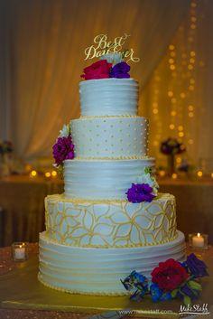 'Best Day Ever' wedding cake with yellow piping and purple flowers #wedding #cake #Michiganwedding #Chicagowedding #MikeStaffProductions #wedding #reception #weddingphotography #weddingdj #weddingvideography #wedding #photos #wedding #pictures #ideas #planning #DJ #photography