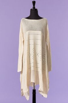 knitted sleeved poncho