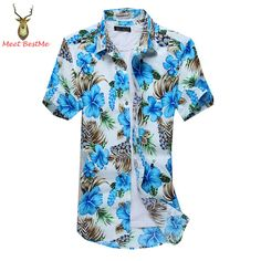 Good Quality Fl Printed Men Hawaiian Shirt Short Sleeve Slim Fit Casual Mens Beach Shirts Fashion