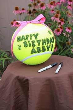 oversized tennis ball for the human guests to sign. And you could even buy little tennis balls to give out as party favors. Puppy Birthday, 65th Birthday, Sweet 16 Birthday, 1st Birthday Parties, Birthday Ideas, Tennis Crafts, Sweet 16 Themes, Tennis Party, Grad Parties